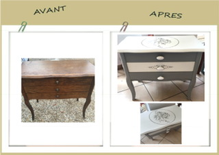 meuble travailleuse patin e et relook e avant apr s. Black Bedroom Furniture Sets. Home Design Ideas